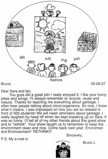 Bruno L. from T. Homma School drew a picture of Ian peeking out over the set and all the kids laughing.