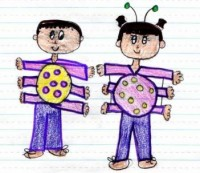 Runyu, Grade 3, drew a picture of Ian and Sara as microorganisms!